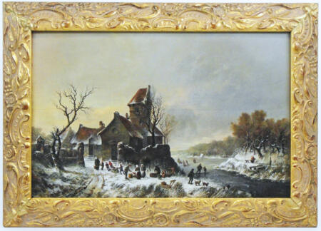 ANTIQUE DUTCH PAINTING LANDSCAPE IN WINTER