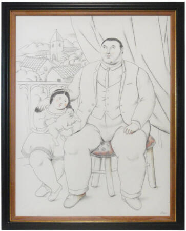 Fernando Botero - Man with little girl and cat - Mixed media on canvas